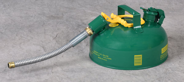 "TYPE II SAFETY CANS - GALVANIZED STEEL TYPE II SAFETY CANS Green - w/7/8"" O.D. Flex Spout 1 gal Green"