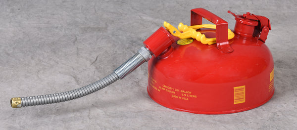 "TYPE II SAFETY CANS - GALVANIZED STEEL TYPE II SAFETY CANS Red - w/5/8"" O.D. Flex Spout 1 gal Red"
