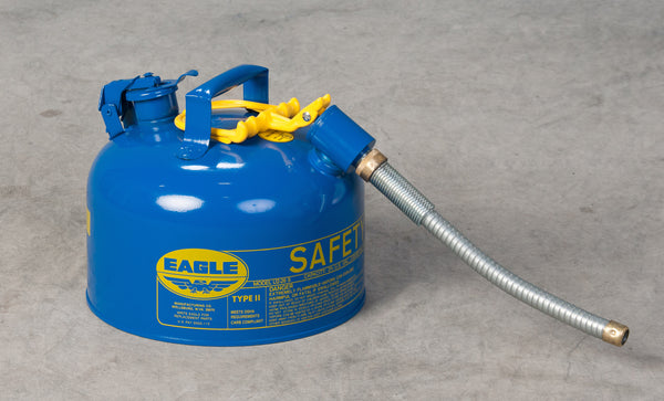 "TYPE II SAFETY CANS - GALVANIZED STEEL TYPE II SAFETY CANS Blue - w/7/8"" O.D. Flex Spout 2.5 gal Blue"