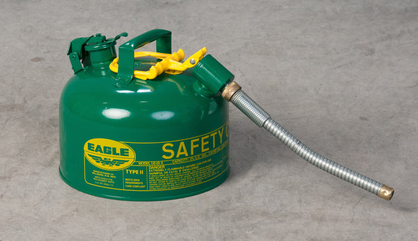 "TYPE II SAFETY CANS - GALVANIZED STEEL TYPE II SAFETY CANS Green - w/7/8"" O.D. Flex Spout 2.5 gal Green"