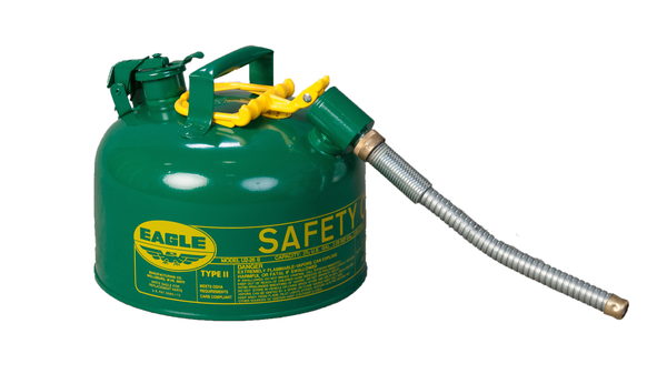 "TYPE II SAFETY CANS - GALVANIZED STEEL - 2.5 Gal. Green - w/5/8"" O.D. Flex Spout"