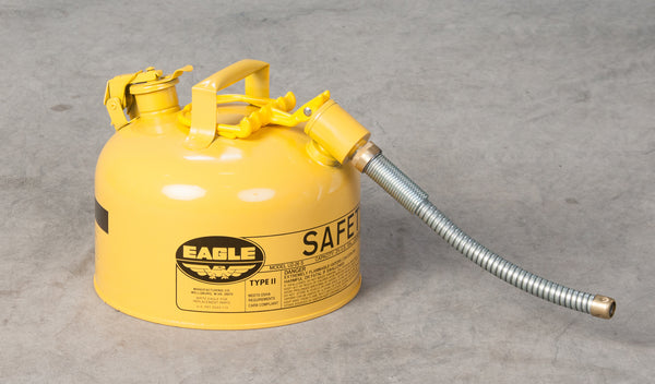 "TYPE II SAFETY CANS - GALVANIZED STEEL TYPE II SAFETY CANS Yellow - w/5/8"" O.D. Flex Spout 2.5 gal Yellow"