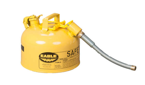 "TYPE II SAFETY CANS - GALVANIZED STEEL - 2.5 Gal. Yellow - w/5/8"" O.D. Flex Spout"