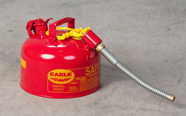 "TYPE II SAFETY CANS - GALVANIZED STEEL - 2.5 Gal. Red - w/5/8"" O.D. Flex Spout"