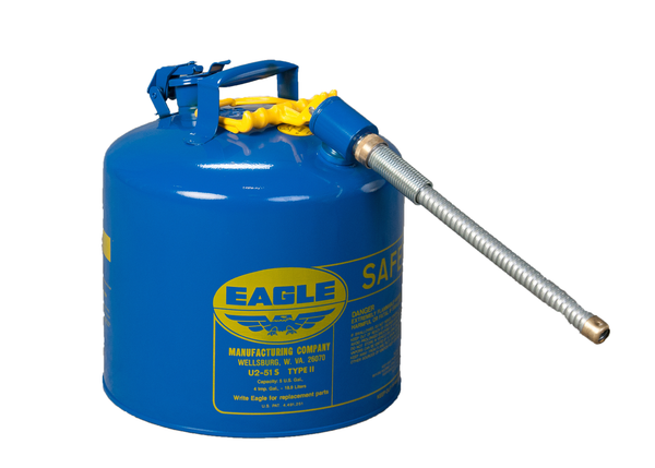 "TYPE II SAFETY CANS - GALVANIZED STEEL TYPE II SAFETY CANS Blue - w/7/8"" O.D. Flex Spout 5 gal Blue"