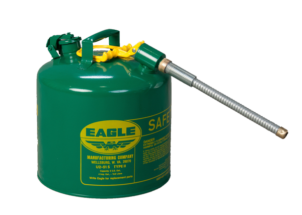 "TYPE II SAFETY CANS - GALVANIZED STEEL - 5 Gal. Green - w/7/8"" O.D. Flex Spout"