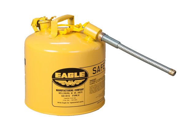 "TYPE II SAFETY CANS - GALVANIZED STEEL - 5 Gal. Yellow - w/5/8"" O.D. Flex Spout"