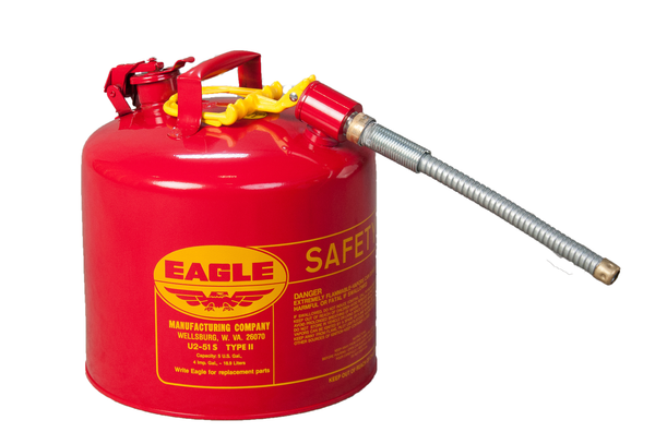 "TYPE II SAFETY CANS - GALVANIZED STEEL - 5 Gal. Red - w/5/8"" O.D. Flex Spout"