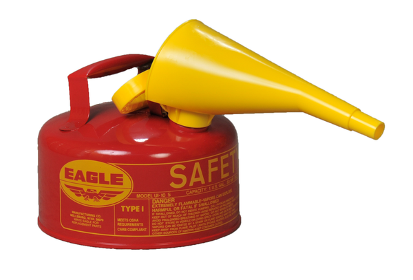 Type I Safety Cans - 1 Gal. Metal - Red w/ F-15 Funnel - Safety Cans