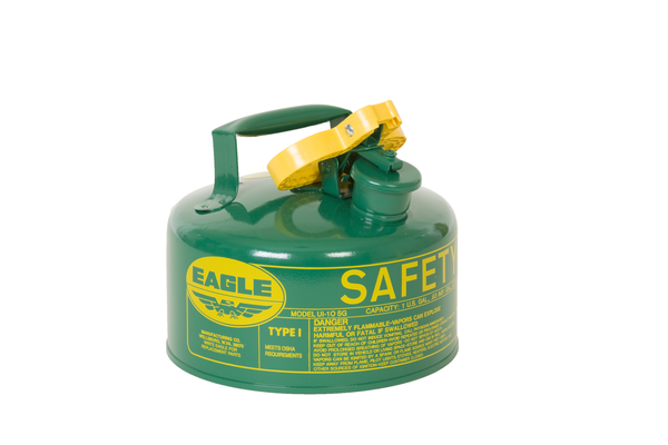 Type I Safety Cans - 1 Gal. Metal - Green (Oils or Combustibles) - Safety Cans
