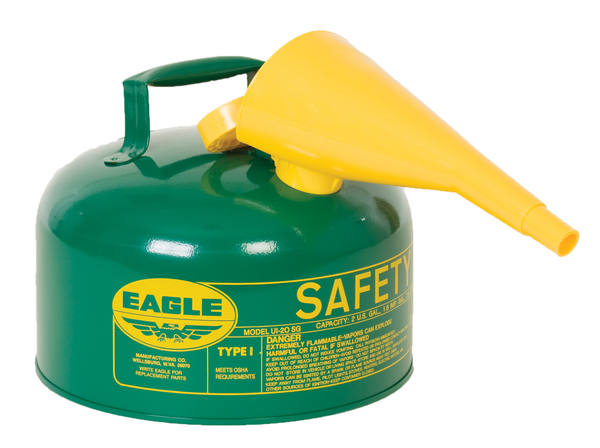 TYPE I SAFETY CANS-GALVANIZED STEEL, POLY, STAINLESS STEEL TYPE I SAFETY CANS Metal - Green (Oils or Combustibles) w/F-15 Funnel 2 gal Green