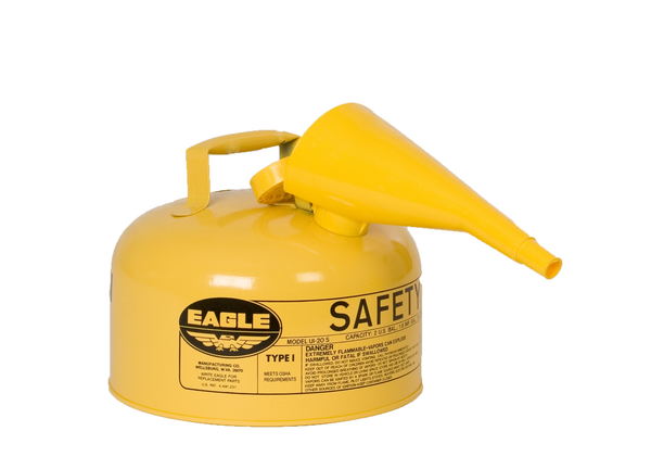 Type I Safety Cans- 2 Gal. Metal - Yellow w/F-15 Funnel - Safety Cans