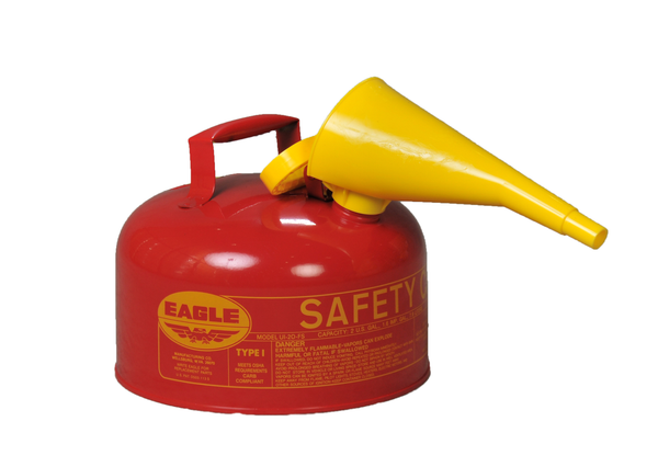 Type I Safety Cans - 2 Gal. Metal - Red w/F-15 Funnel - Safety Cans