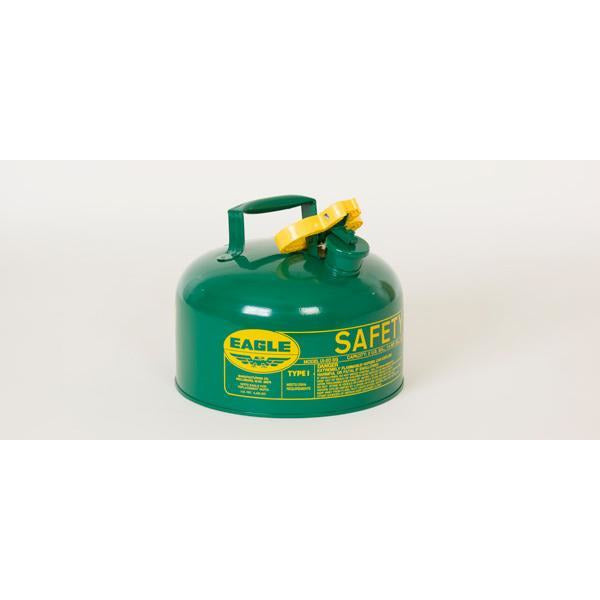 Type I Safety Cans - 2 Gal. Metal - Green (Oils or Combustibles) - Safety Cans