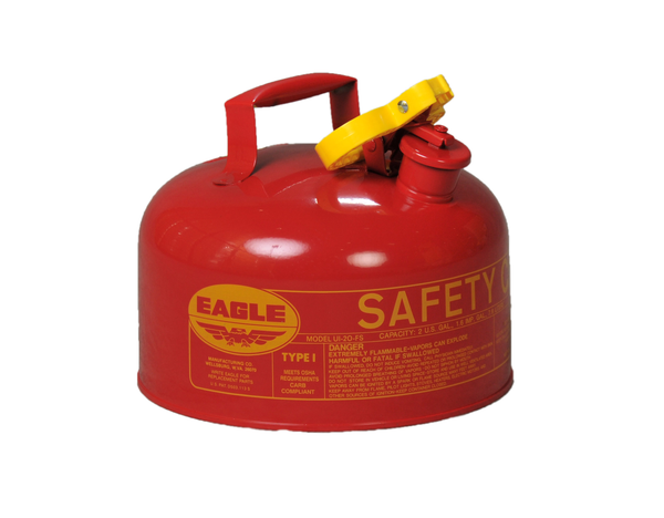 Type I Safety Cans - 2.5 Gal. Metal - Red w/F-15 Funnel - Safety Cans