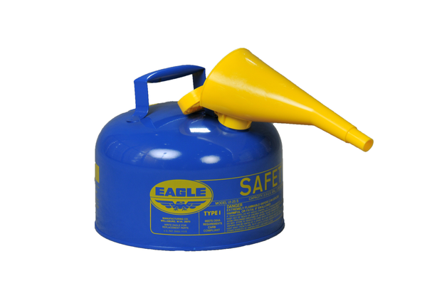 TYPE I SAFETY CANS-GALVANIZED STEEL, POLY, STAINLESS STEEL TYPE I SAFETY CANS Metal - Blue w/F-15 Funnel 2.5 gal Blue