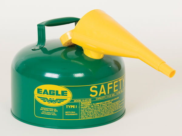 TYPE I SAFETY CANS-GALVANIZED STEEL, POLY, STAINLESS STEEL TYPE I SAFETY CANS Metal - Green (Oils or Combustibles) w/F-15 Funnel 2.5 gal Green