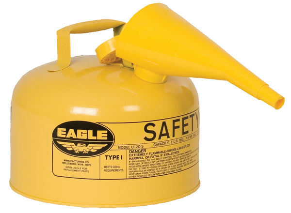 TYPE I SAFETY CANS-GALVANIZED STEEL, POLY, STAINLESS STEEL TYPE I SAFETY CANS Metal - Yellow w/F-15 Funnel 2.5 gal Yellow