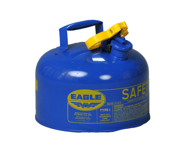 TYPE I SAFETY CANS-GALVANIZED STEEL, POLY, STAINLESS STEEL TYPE I SAFETY CANS Metal - Blue (Kerosene) 2.5 gal Blue