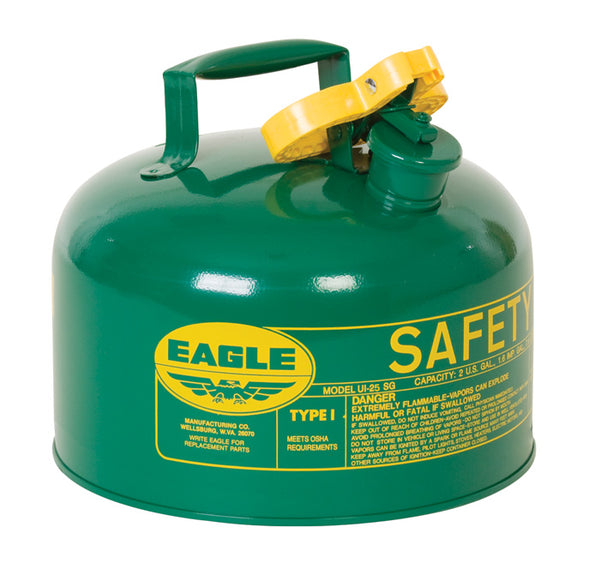 TYPE I SAFETY CANS-GALVANIZED STEEL, POLY, STAINLESS STEEL TYPE I SAFETY CANS Metal - Green (Oils or Combustibles) 2.5 gal Green