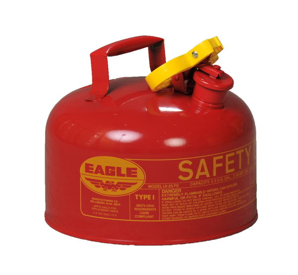 Type I Safety Cans - 2.5 Gal. Metal - Red - Safety Cans