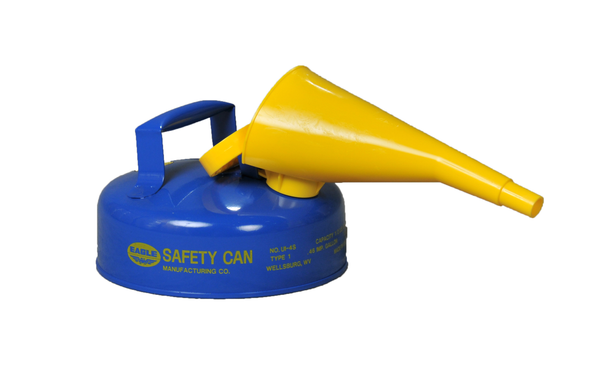 TYPE I SAFETY CANS-GALVANIZED STEEL, POLY, STAINLESS STEEL TYPE I SAFETY CANS Metal - Blue w/F-15 Funnel (Kerosene) 2 Qt. Blue