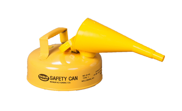 TYPE I SAFETY CANS-GALVANIZED STEEL, POLY, STAINLESS STEEL TYPE I SAFETY CANS Metal - Yellow w/F-15 Funnel 2 Qt. Yellow