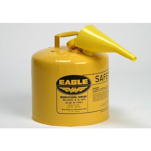 Type I Safety Cans - 5 Gal. Metal - Yellow w/F-15 Funnel - Safety Cans