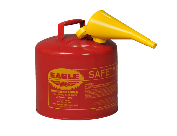 Type I Safety Cans - 5 Gal. Metal - Red w/F-15 Funnel - Safety Cans