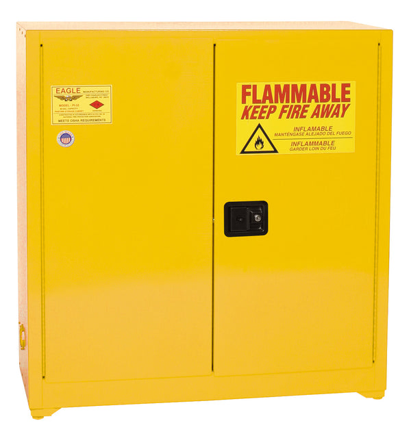 Safety Storage Cabinets Paint/Ink Standard 40 Gal. Yellow One Door Self-Closing Three Shelves