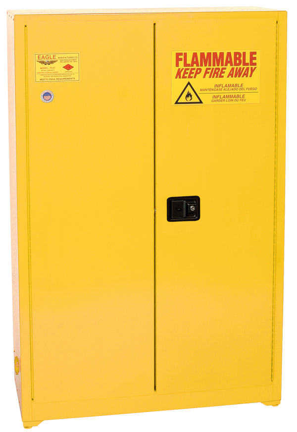 Safety Storage Cabinets Paint/Ink Standard 60 Gal. Yellow One Door Self-Closing Five Shelves