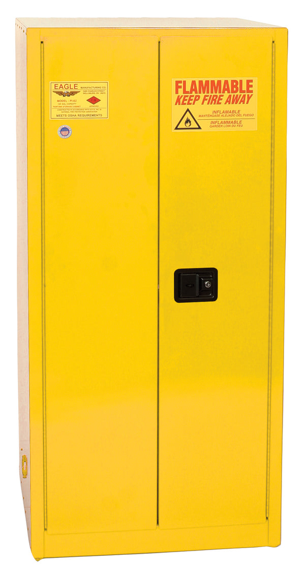 Safety Storage Cabinets Paint/Ink Standard 96 Gal. Yellow Two Door Self-Closing Five Shelves