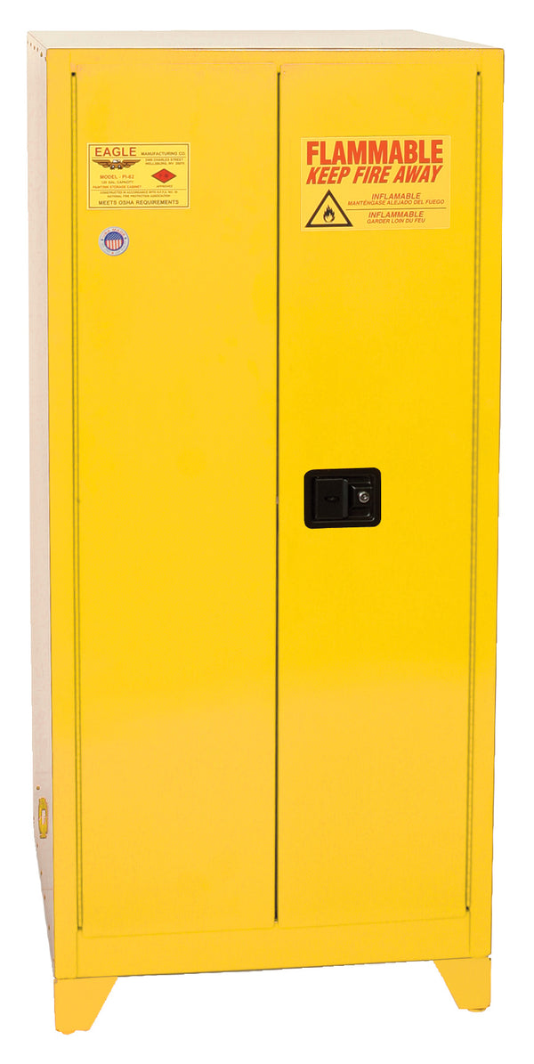 Paint/Ink Tower Cabinet - RED (YPI-YELLOW) Two Door Manual Close Five Shelves 96 Gal.
