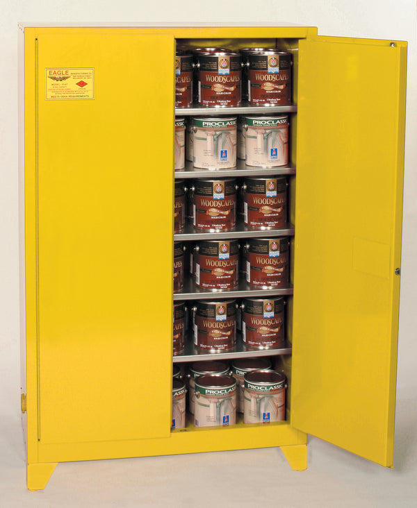 Paint/Ink Tower Cabinet - RED (YPI-YELLOW) Two Door Manual Close Five Shelves 60 gal