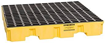 4 Drum Low Profile Containment Pallet - Yellow w/ Black Grate - IBC Containment