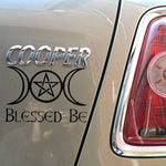 For Blessed Be Triple Moon & Pentagram Gloss Vinyl Car Sticker, Wicca, Car Styling