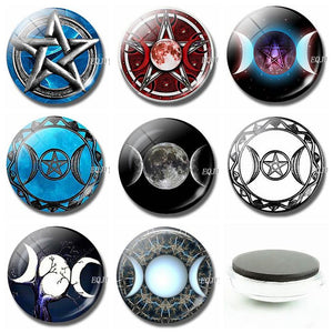Triple Moon Goddess Fridge Sticker Moonstone Witch 30MM Glowing At Night Glass Magnets for Refrigerators for Religion Home Decor