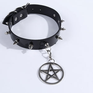 2 Pendants Gothic Choker Women Vintage Pentagram Hexagram Punk Goth Rivet Pu Leather Collar Choker Necklace
