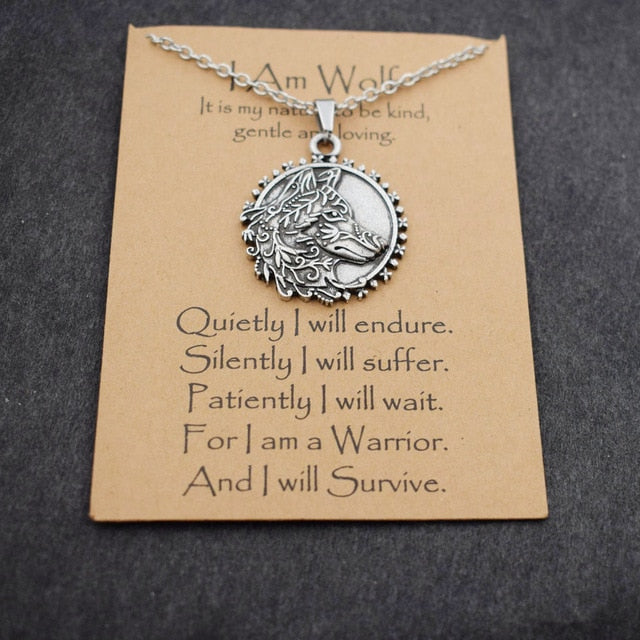 Norse i am wolf Viking Celtics wolf necklace  Totem Amulet with card