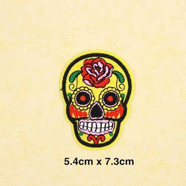 Fabric Embroidered Flower Skull Patch Cap Clothes Stickers Bag Sew Iron Applique DIY Apparel Sewing Clothing Accessories