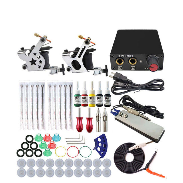Tattoo Machine Kit Set 2 Coils Guns 5 Colors Pigment Sets Power Tattoo Beginner Kits Permanent Makeup Machines HP-2 Tattoo Power