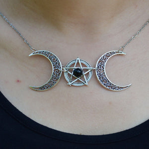Pentagram Pagan Witch Necklace Crescent Moon Wicca Pendant Necklaces Gothic Jewelry