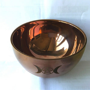 ritual bowl tarot Pentagram stainless steel Gold plating/ tableware ceremony noon Divination Astrological tool Board game