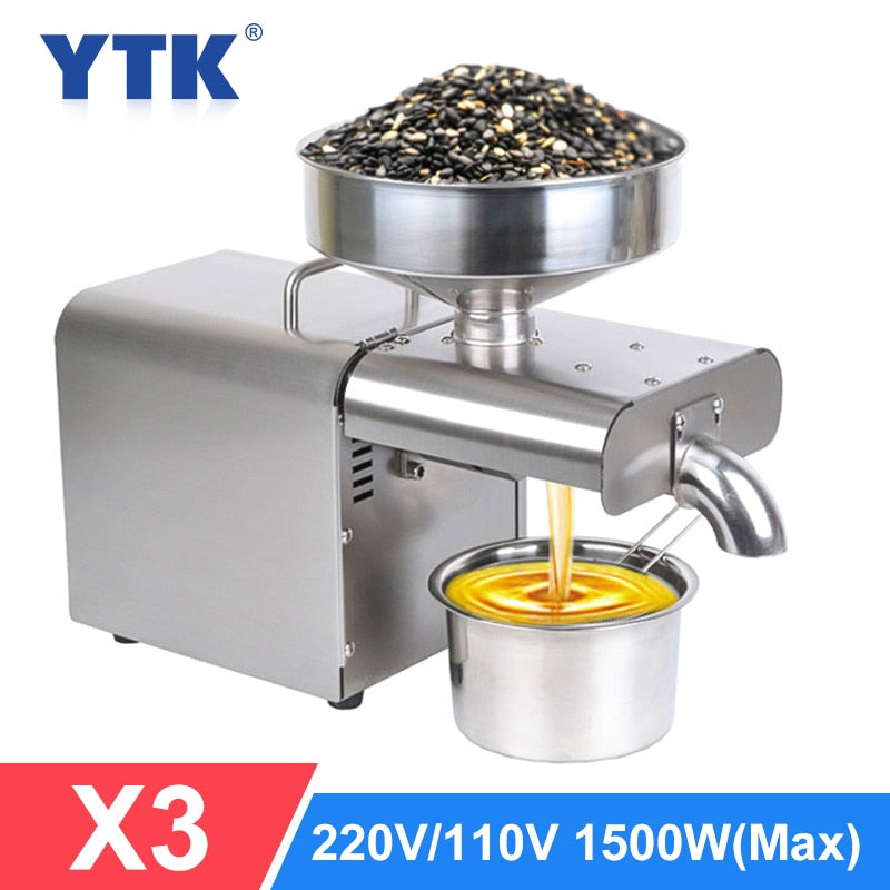 YTK Oil Press Automatic Household FLaxseed Oil Extractor Peanut Oil Press Cold Press Oil Machine 1500W (MAX)