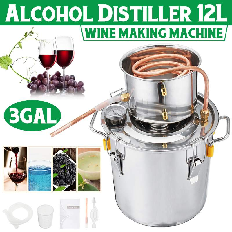 8L/10L/12LEfficient Home DIY Brew Distiller Moonshine Alcohol Still Stainless Copper Water Wine Essential Oil Brewing Kit
