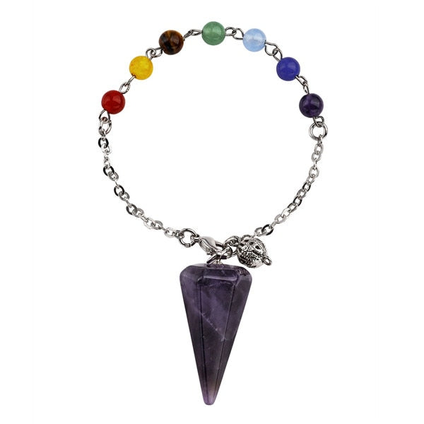 Natural Stone Crystal 6 Faceted Wicca Pendulum Pyramid Healing Chakra Dowsing Pendant Bracelet Combination With 7 Chakras Chain