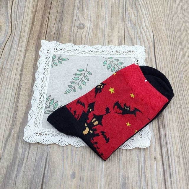 Halloween Gifts New Style High Quality Harajuku Hip Hop Sock Bat Pumpkin Devil Castle Witch Patterned Happy Christmas idea Socks