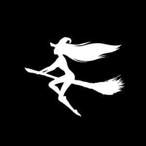 14.6*11.7CM Hot Sexy Halloween Witch Car Stickers Vinyl Decals Covering The Body Black/Silver