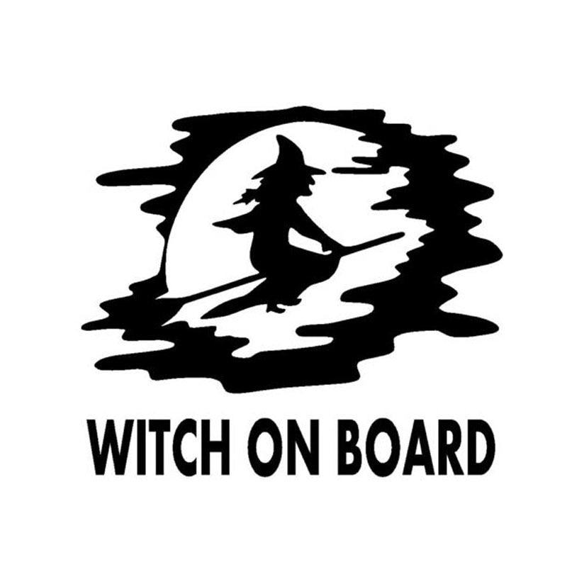 13CM*11.8CM Personality Cute WITCH ON BOARD Body Stickers Accessories