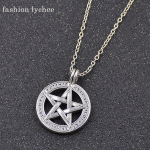 fashion lychee Tibetan Ancient Silver Hollow Pentagram Pendant Pentacle Men Necklace Goth Wicca Charm Supernatural Jewelry Gift